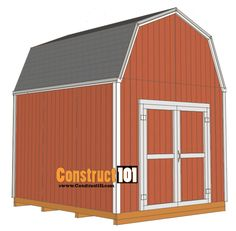 shed plans -gambrel shed - shingles 10x10 Shed Plans, Lean To Shed Plans, Free Shed Plans, Shed Building Plans, Storage Shed Plans, Diy Storage, 8x10 Shed, Shed With Loft, Shed Construction
