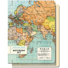 Cavallini &Co - Wereldkaart notebook set van 2