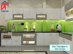 tủ bếp acrylic chữ L tiện nghi, hiện đại TBL10
