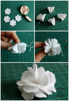 Di corso in corso fustella di tim holtz tattered florals – ArtofitTattered florals flower tutorial - have got this die cutter.The steps to make Jasmine flower from felt Felt Roses, Felt Flowers, Diy Flowers, Fabric Flowers, Paper Flowers, Leaf Template, Flower Template, Felt Flower Tutorial, Ribbon Embroidery