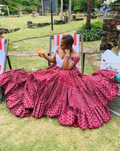 traditional dresses from South Africa - Spiffy Fashion Seshweshwe Dresses, African Maxi Dresses, Latest African Fashion Dresses, African Attire, African Clothes, Pedi Traditional Attire, Sepedi Traditional Dresses, South African Traditional Dresses, Traditional Wedding