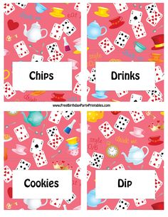 http://www.freebirthdaypartyprintables.com/Alice-In-Wonderland-Birthday-Party-Food-Cards.php
