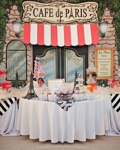 paris theme centerpieces marvelous themed party decoration candy buffet table for a night in theme wedding ian themed marvelous themed paris birthday party centerpieces Prom Themes, Dance Themes, Thema Paris, French Themed Parties, French Dinner Parties, Paris Birthday Parties, Paris Theme Parties, Parisian Birthday Party, Karaoke Party