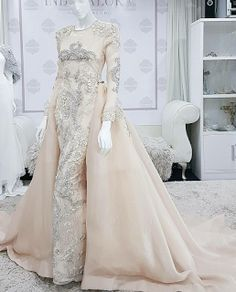 baju nikah pastel peach Pastel Wedding Guest Dresses, Rainbow Wedding Dress, Pastel Bridesmaid Dresses, Blush Pink Wedding Dress, Making A Wedding Dress, Muslimah Wedding Dress, Modest Wedding Gowns, Muslim Wedding Dresses, Dream Wedding Dresses