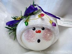 Snowman Christmas Ornament Tree Bulb Hand Painted Glass Snowball face Themed with Christmas Lights - Personalized from TownsendCustomGifts on Etsy.