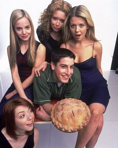 7 people, food and indoorYou can find Tara reid and more on our people, food and indoor American Pie Cast, American Pie Movies, Laura Haddock, Sienna Guillory, Dougray Scott, Claire Forlani, Kristin Scott Thomas, Patricia Arquette, Michael Keaton