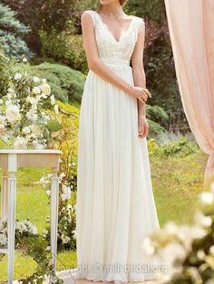 A-line V-neck Chiffon Floor-length Beading Wedding Dresses -$332.19