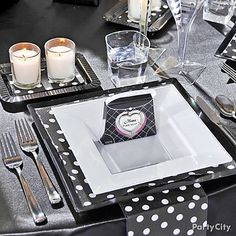 Black and White Polka-Dot Bridesmaids' Luncheon Table Decorating Ideas - Party City