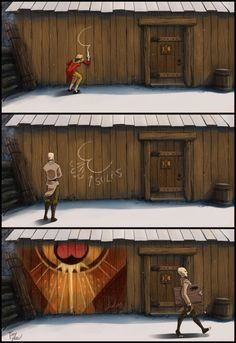 silksieve: mabiruna: I dunno who did it. My friend found it somewhere and sent to me :D solas I love you :) tsonishepard found author: deviantart Artist is tiny-tyke nthornborrow, a tribute to the gorgeous murals! Of a sort. :) This totally made my day. Hilarious stuff, tiny-tyke