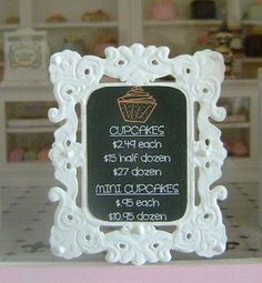 CUPCAKE CHALKBOARD MENU Shop Sign Bakery Cafe - Dollhouse Miniature 1/12 th Scale. $25.00, via Etsy.