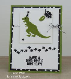 Stampin-Up-No-Bones-About-It-Dinosaur-TRex-Skeleton-Kids-Birthday-Card-Party-Favor-Idea-CAS-Sarah-Wills-Sarahsinkspot-Stampinup-Front