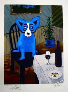 """George Rodrigue- Blue Dog series 'Guess Who's coming to dinner."""""""