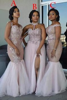 Mixed Style Long Lace Appliques Mermaid Tulle Blush Pink Long Bridesmaid Dresses uk PH835