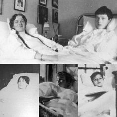 here's OTMAA sick in bed. Olga- sick with anemia in 1915 Tatiana- sick with Typhoid in 1913 Maria- recovering from measles in 1917 Anastasia-I'm not sure looks like 1911 and Alexei- recovering from an attack of Hemophilia . Alexandra Feodorovna, Anastasia, Vintage Photographs, Vintage Photos, Romanov Family Execution, Olga Romanov, Grand Duchess Olga, House Of Romanov, Tsar Nicholas Ii