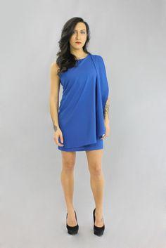 Blue! mishpish.com #sleevelessdress #bluedress #flow #onesided #greekinspired #shortdress #pretty Blue Dresses, Short Dresses, Dinner With Friends, Ladies Night, Night Out, Flow, Classy, Sexy, Pretty