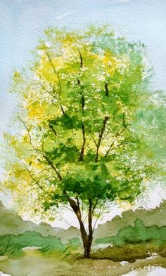 landscape paintings easy watercolor landscape paintings ~ landscapes for painting Tree Watercolor Painting, Watercolor Paintings For Beginners, Watercolor Landscape Paintings, Easy Watercolor, Watercolor Techniques, Landscape Art, Watercolor Flowers, Painting & Drawing, Oil Paintings