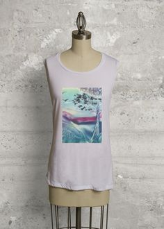 Sleeveless knit top $40, made with design from the encaustic painting https://www.shopvida.com/collections/janakollar11