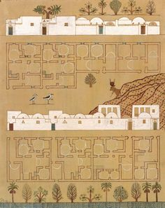 hassan fathy - new gourna village plan in gouache