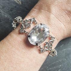 Neo Victorian Rhinestone Bracelet - Cocktail Bracelet - Ren Faire - Victorian Jewelry - Handmade Gift Idea for Her