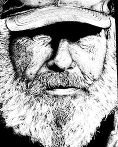 Pointillism Black And White Portrait