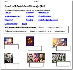 American Holidays Internet Scavenger Hunt