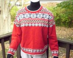 Ugly Xmas Sweater, Snowflake Sweater, Red Holiday Sweater, Snowflake Christmas Sweater, Winter Fashion, Womens Clothing, Size Medium
