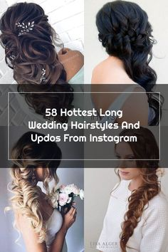 hottest long wedding hairstyles and updos from instagram; #wedding #weddings #weddinghairstyles #weddingideas Wedding Hair Side, Wedding Hairstyles For Long Hair, Instagram Wedding, Updos, Weddingideas, Weddings, Hair Styles, Hot, Up Dos