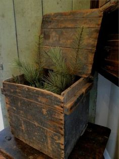 Vintage Antiqued Wooden Chest Trug English Mustard Profit Small Reproduction Boxes/chests