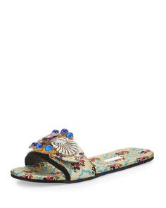 Shop Mogador Anemone Slide Sandal, Turchese from Miu Miu at Neiman Marcus Last Call, where you'll save as much as on designer fashions. T Strap Flats, Strappy Shoes, Studded Sandals, Shoes Sandals, Women Sandals, Open Toe Flat Shoes, Open Toe Sandals, Slide Sandals, Miu Miu Sandals