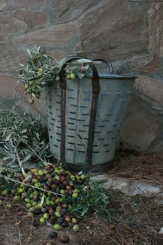 Rustic Metal Olive and bucket baskets from by Eskiden on Etsy