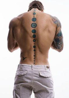 Mens Back #Tattoo With Spine Artwork