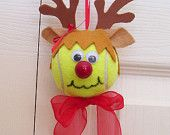 Christmas Reindeer Ornament Tennis Ball Girl by roseartworks Noel Christmas, Christmas Crafts For Kids, Christmas Balls, Christmas Projects, Holiday Crafts, Holiday Fun, Reindeer Ornaments, Diy Christmas Ornaments, How To Make Ornaments