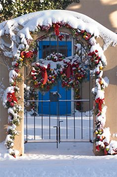~A Blue Door Decorated At Christmastime~ New Mexico (what city or town?)