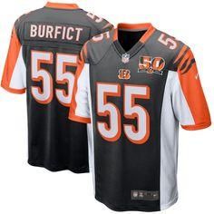 Men's Cincinnati Bengals Vontaze Burfict Nike Black 50th Anniversary Patch Game Jersey