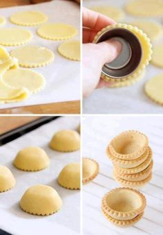 How to form mini tart shells- I'd need a pastry ring to make the pretty edges but I don't know what that is. No Bake Desserts, Just Desserts, Delicious Desserts, Yummy Food, Mini Dessert Recipes, Gourmet Desserts, Nutella, Sweet Recipes, Cupcake Cakes