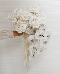 Cascading blooms in ivory shades, the dreamiest bridal bouquet by Bridal Flowers, Flower Bouquet Wedding, Floral Wedding, Cascading Flowers, Boquet, Peacock Wedding, Wedding Rustic, Ivory Wedding, Wedding Bride