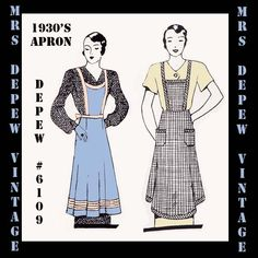 This is a digital draft-at-home pattern for a lovely 1930s apron. The apron is a simple style that was very common in the early 1930s and reflects the