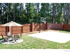 Basketball Court In Back Yard U0026 Brick Fence. Backyard House ...
