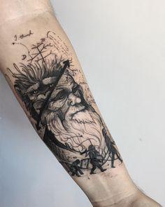 Tatuagem criada por Rodrigo Muinhos de Fortaleza. Meio pensador, meio macaco. A evolução humana em forma de tatuagem.