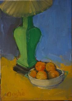 Green Lamp wit Oranges still life painting  by AngelaOoghe on Etsy, $45.00
