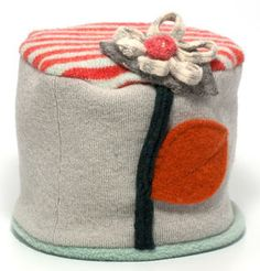 Ladies Flower Pot Hat in Sage Green and Orange Stripe