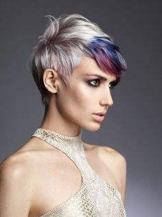 Short pixie cut with colourful highlights, want this, but instead of gray, blue and purple, I want blonde green and blue :)