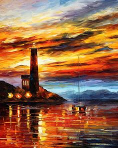 BY THE LIGHTHOUSE de Leonid Afremov reproducción ORIGINAL Hoy Jul 24 precio especial 129 USD  http://afremov.com/BY-THE-LIGHTHOUSE-Palette-knife-Oil-Painting-on-Canvas-by-Leonid-Afremov-Size-24-x30.html?bid=1&partner=14143