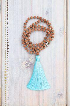 Hand knotted Mala/108 beads/Rudraksha/Tassel/silk cord/Symbole