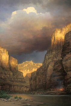 The Grand Expedition  painting by William S. Phillips of John Wesley Powell encampment on the Colorado River  Powell is famous for the 1869 Powell Geographic Expedition, a three-month river trip down the Green and Colorado rivers, including the first...