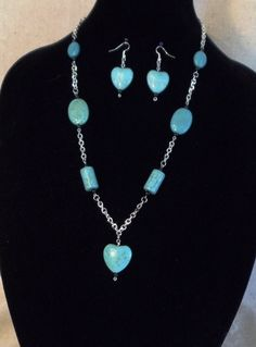 "Heart Turquoise Beads, 24"" Statement Necklace,Turquoise Beads,Silver Plated Chain,Matching Earrings,Angel Dangel,Angel,FREE SHIPPING!!! by CKDesignsForYou on Etsy"