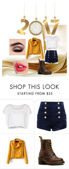 """""""2017"""" by li-directioner ❤ liked on Polyvore featuring American Apparel, Pierre Balmain, Dr. Martens and Charlotte Tilbury"""