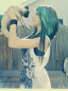 #blue & #black #dyed #scene #hair #pretty