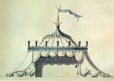 Henry Keene's design for a Turkish Tent at Painshill Park, Surrey, c. 1760 (the drawing is part of the collection of the Victoria and Albert)