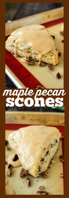 Maple Pecan Scones – Fluffy cream scones loaded with pecans and covered in maple icing #recipe #scones #breakfast #brunch #maple #pecan #pastry #easy #icing